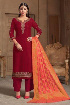 Satin Georgette Maroon Palazzo Salwar Suit