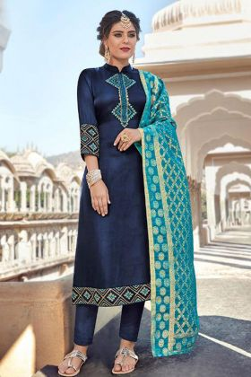 Satin Georgette Navy Blue Salwar Suit