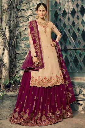 Satin Georgette Pakistani Dress Cream Color With Swaroski Work