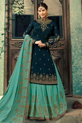 Satin Georgette Pakistani Dress Stone Work In Navy Blue Color