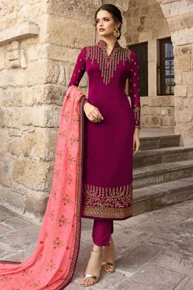 Satin Georgette Pant Style Dress Embroidery Work In Wine Color