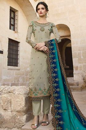 Satin Georgette Pant Style Salwar Suit Embroidery Work In Grey Color