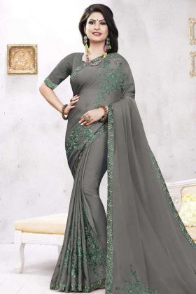 Satin Georgette Party Wear Saree Grey Color With Coding Work