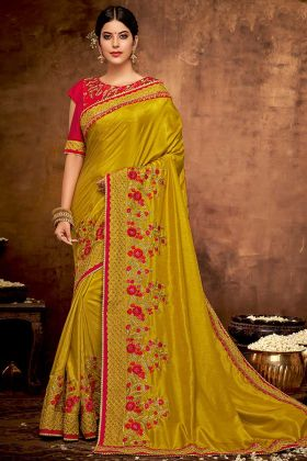 Satin Georgette Party Wear Saree Mustard Yellow Color With Zari Embroidery Work