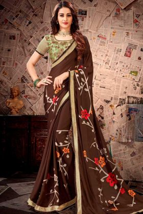Satin Georgette Party Wear Saree Resham Embroidery Work In Brown Color