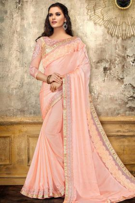 Satin Georgette Party Wear Saree With Brocade Blouse Pink Color