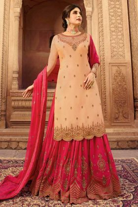Satin Georgette Reception Suit Heavy Embroidery Work In Cream Color