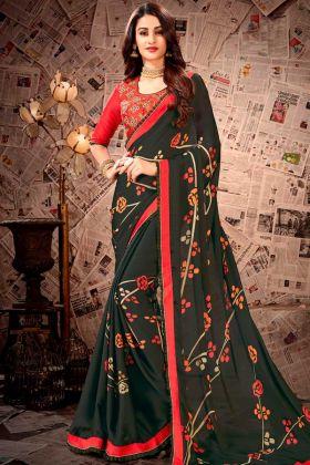 Satin Georgette Saree Dark Green Color With Resham Embroidery Work