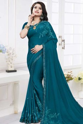 Satin Georgette Saree Stone Work In Blue Color