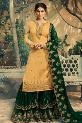 Satin Georgette Sharara Salwar Suit Yellow Color With Heavy Embroidery Work