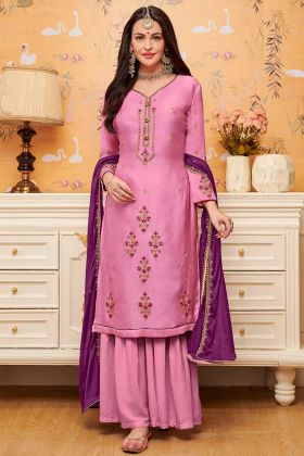 Satin Georgette Sharara Dress Diamond Work In Pink Color
