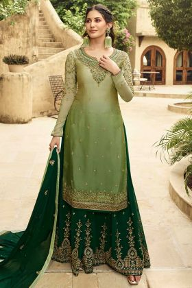 Satin Georgette Sharara Dress Swarovski Diamond Work In Shaded Green Color