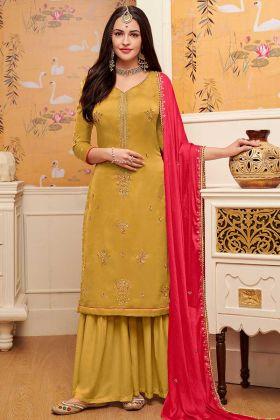 Satin Georgette Sharara Salwar Kameez Embroidery Work In Yellow Color