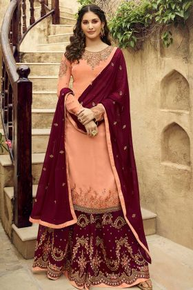 Satin Georgette Sharara Salwar Kameez Heavy Embroidery Work In Peach Color