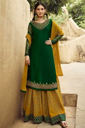 Satin Georgette Sharara Salwar Kameez Swarovski Diamond Work In Green Color