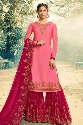 Satin Georgette Sharara Suit Heavy Embroidery Work In Pink Color