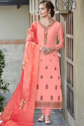 Satin Georgette Straight Salwar Kameez Peach Color With Embroidery Work