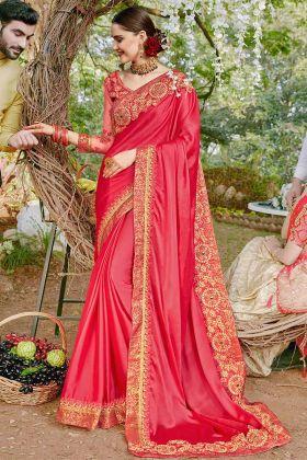 Satin Georgette Wedding Saree Resham Embroidery Work In Dark Pink Color
