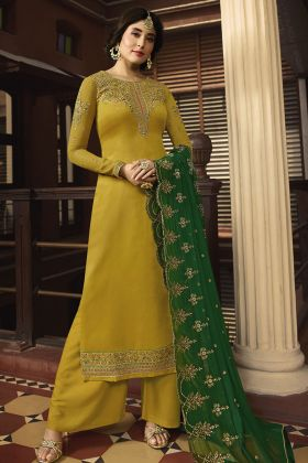 Satin Georgette Yellow Palazzo Suit