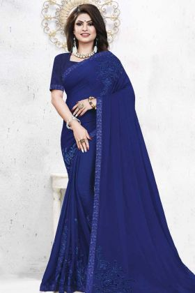 Satin Georgettee Wedding Saree Royal Blue Color With Stone Work