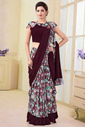 Satin Lycra and Silk Designer Saree Printed Work In Multi Color
