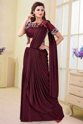 Satin Lycra and Silk Party Wear Saree Printed Work In Maroon Color