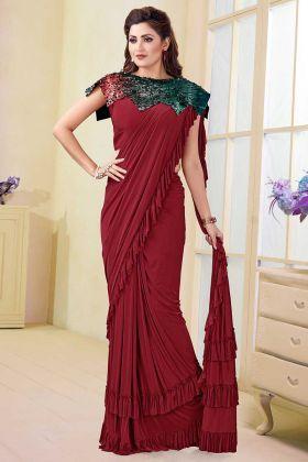 Satin Lycra and Silk Printed Saree In Maroon Color