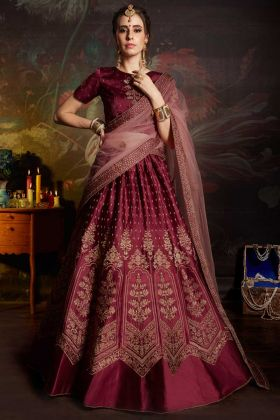 Satin Maroon Lehenga Choli With Embroidery Work