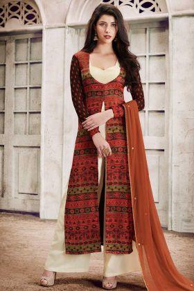Satin Palazzo Salwar Suit Printed Rust Color