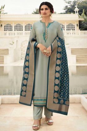 Satin Pant Style Salwar Suit Grey Color With Resham Embroidery Work