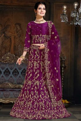 Satin Party Wear Lehenga Choli Purple Color With Coding Embroidery Work