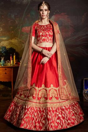 Satin Red Lehenga Choli Embroidery Work With Soft Net Dupatta