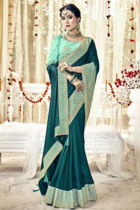 Satin Sea Green Party Wear Saree