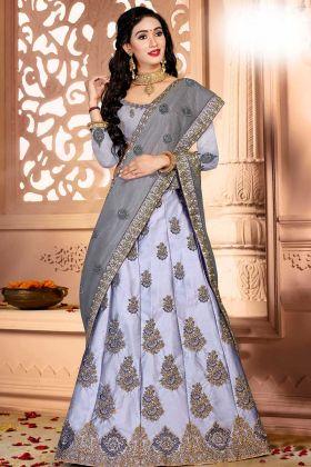 Satin Silk A-Line Lehenga Choli Jari Embroidery Work In Grey Color With Net Dupatta