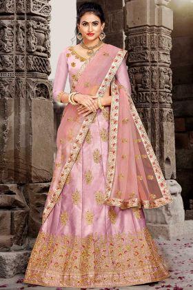 Satin Silk A-Line Lehenga Choli Pink Color With Jari Embroidery Work