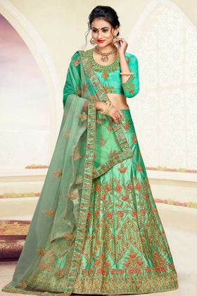 Satin Silk A-Line Lehenga Choli Sea Green Color With Jari Embroidery Work