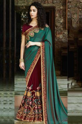Satin Silk and Georgette Designer Saree Resham Embroidery Work In Teal Green and Maroon Color
