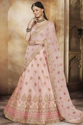 Satin Silk Bridal Lehenga Choli Baby Pink Color Heavy Multi Embroidery Work With Net Dupatta