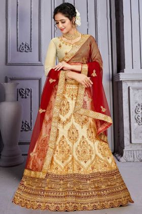 Satin Silk Cream Color Lehenga Choli For Women