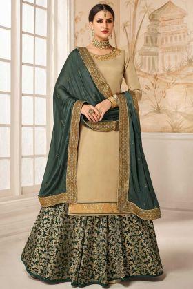 Satin Silk Designer Indo Western Suit In Beige Color