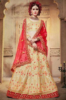 Satin Silk Designer Lehenga Choli Beige Color With Embroidery Work