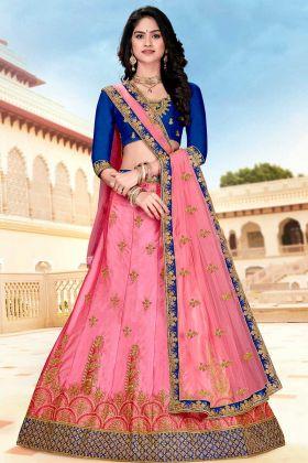 Satin Silk Designer Lehenga Choli Resham Embroidery Work In Pink Color