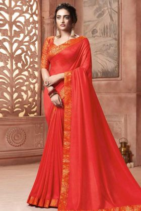 Satin Silk Designer Saree Orange Color With Weaving Work