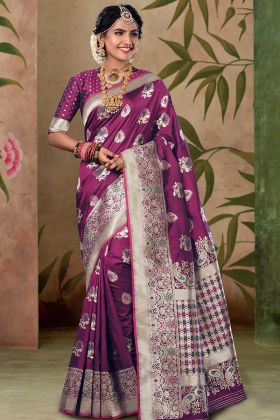 Satin Silk Designer Saree Purple Color With Weaving Work