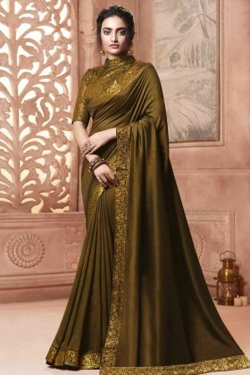 Satin Silk Designer Saree Weaving Work Olive Color