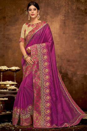 Satin Silk Designer Saree Wine Color With Thread Embroidery Work