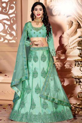 Satin Silk Festival Lehenga Choli Resham Embroidery Work In Mint Green Color