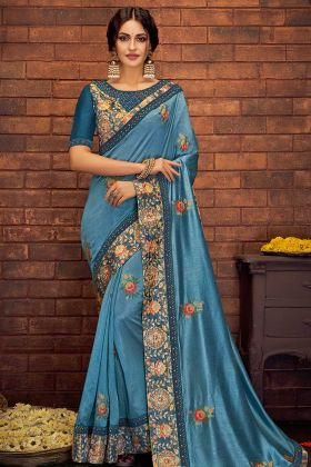 Satin Silk Festival Saree Blue Color Zari Embroidery Work