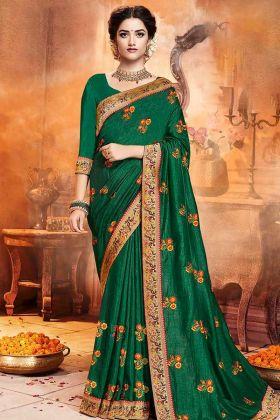 Satin Silk Festival Saree Green Color With Jari Embroidery Work
