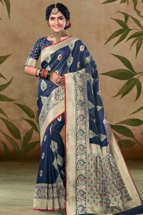 Satin Silk Festival Saree Navy Blue Color With Weaving Work